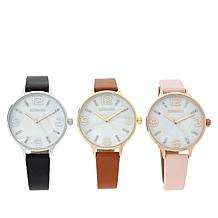 Kessaris Set of 3 Mother-of-Pearl Dial Faux Leather Strap Watches