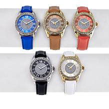 Kessaris Set of 5 Crystal-Accented Glitter Dial Watches