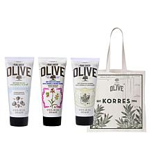 Korres 3-piece Olive Oil and Body Cream Set with Tote