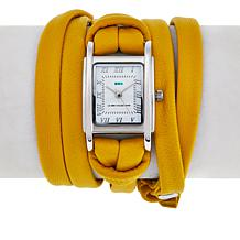 La Mer Silvertone Rectangular Dial Yellow Leather Wrap Watch