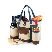 Legacy by Picnic Time Wine Country Tote - Beige w Blue/Brown Accents