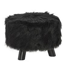 Linon Home Avery Faux Fur Stool