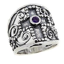 LiPaz .08ct Amethyst Textured Cross Sterling Silver Ring