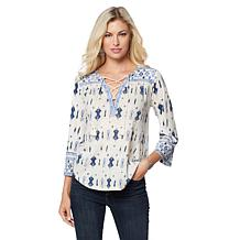 Lucky Brand Boho-Print Lace-Up Peasant Top - Missy