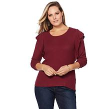 Lucky Brand Ruffle-Trim Ribbed Sweater - Plus