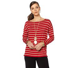MarlaWynne Boat-Neck Striped Box Top