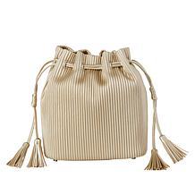 MarlaWynne Corrugated Drawstring Bucket Bag with Tassels