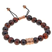 Men's Rosetone Tiger's Eye Bead Adjustable Bracelet