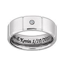 Men's White Tungsten Inside Laser-Engraved CZ Band
