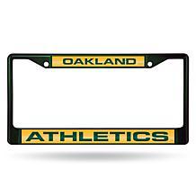 MLB Colored Laser-Cut Chrome License Plate Frame -  Athletics
