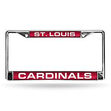 MLB Red Laser-Cut Chrome License Plate Frame - Cardinals