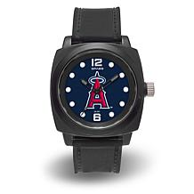 "MLB Sparo Team Logo ""Prompt"" Black Strap Sports Watch - Angels"