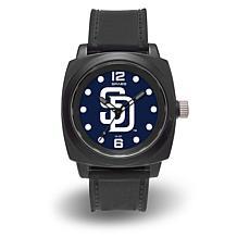 "MLB Sparo Team Logo ""Prompt"" Black Strap Sports Watch - Padres"