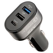 MobileSpec 12 Volt Triple Quick Charge USB-C 2.4A Car Charger