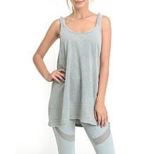 Mono B Mineral Wash Gathered Back Longline Tank Top