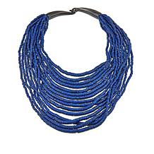Natural Beauties Lapis-Color Coconut Shell and Buffalo Horn Necklace