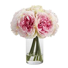 "Nearly Natural 11"" Peony Bouquet Artificial Arrangement in Glass Vase"