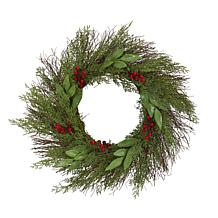 """Nearly Natural 20"""" Cedar & Ruscus with Berries Artificial Wreath"""