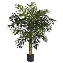 Nearly Natural 4 ft. 2-Trunk Golden Cane Palm Tree