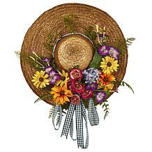 Nearly Natural Silk Mixed Flower Hat Wreath Arrangement
