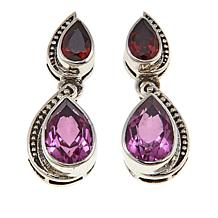 Nicky Butler 3.30ctw Pink Quartz Triplet and Gemstone Pear Earrings