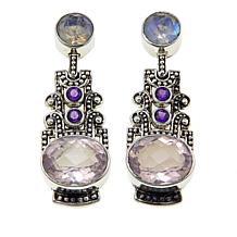 Nicky Butler 9.7ctw Amethyst, Moonstone and Quartz Drop Earrings