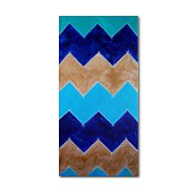"Nicole Dietz ""Blue and Gold Chevron"" Canvas Art"