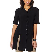 Nina Leonard Miracle Matte Button Up Tunic with Tie
