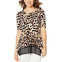 Nina Leonard Mixed-Media Tunic Top with Pockets