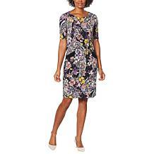 Nina Leonard Printed Sheath Dress with Pockets