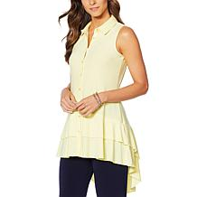 Nina Leonard Sleeveless Collared Top with Ruffle Hem