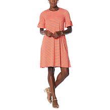 Nina Leonard Striped Knit Trapeze Dress with Pockets