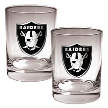 Oakland Raiders 2pc Rocks Glass Set