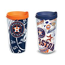 Officially Licensed MLB 16 oz. Tumbler Set with Lids - Houston Astros