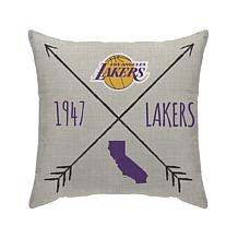"""Officially Licensed NBA 18""""x18"""" Duck Cloth Décor Pillow - LA Lakers"""
