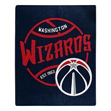 Officially Licensed NBA Black Top Raschel Throw Blanket - Wizards