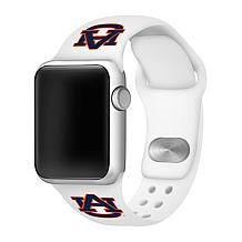 Officially Licensed NCAA White 42/44MM Apple Watch Band- Auburn Tigers