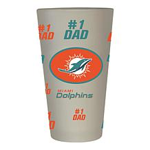 """Officially Licensed NFL """"#1 Dad"""" 16 oz. Frosted Pint Glass -  Dolphins"""