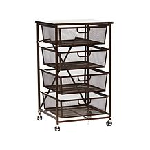 Origami 4 Drawer Kitchen Cart With Wood Shelf