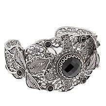 Ottoman Silver Jewelry Collection 15.8ctw Black Spinel Cuff Bracelet
