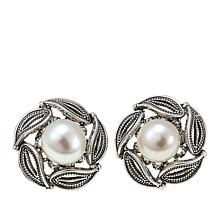 Ottoman Silver Jewelry Cultured Freshwater Pearl Blossom Earrings