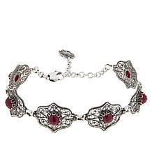 Ottoman Silver Sterling Silver Ruby Filigree Station Bracelet