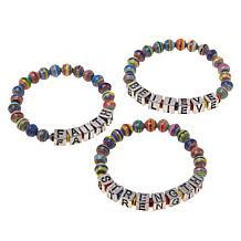 Paper Beads by Janice Mae Wordy Multi-Color Stretch Bracelet 3pc Set