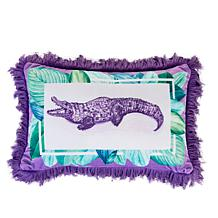 """Patricia Altschul Luxe Alligator Printed 15"""" x 10"""" Pillow"""