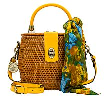 Patricia Nash Antiniana Woven Wicker Crossbody Bag with Scarf