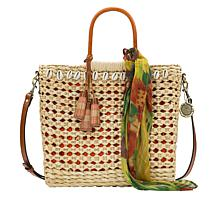 Patricia Nash Ceriana Woven Straw Tote with Printed Scarf