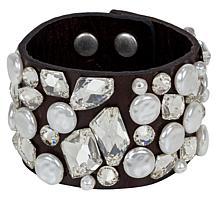 Patricia Nash Nerissa Clear Multi-Stud Rustic Leather Cuff Bracelet