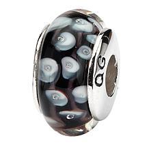 Prerogatives Sterling Silver Black and White Dot Handblown Glass Bead