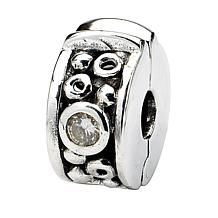 Prerogatives Sterling Silver Cubic Zirconia Dots Hinged Clip Bead