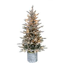 Puleo International 4.5' Pre-Lit Potted Flocked Fir Christmas Tree
